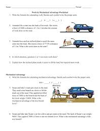 mechanical advantage worksheet