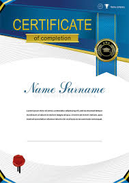 black and blue ribbon official modern education certificate and blue ribbon black