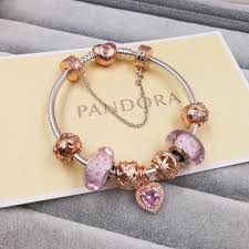 rose gold bracelet with charms images Pandora charm bracelet with 7 pcs pink gold charms gold clasp head JPG