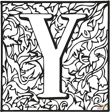 letter y with ornament coloring page free printable coloring pages