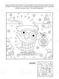 dottodot and coloring page with christmas owl stock vector art