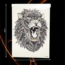 large animal arm tattoo indian king lion head design waterproof