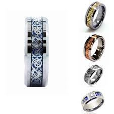 aliexpress promise rings images Buy 8mm white tungsten ring dragon inlay couples jpg