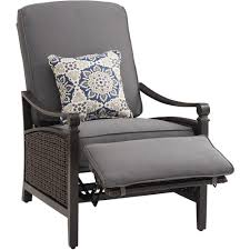 reclining patio chair with ottoman la z boy carson chestnut and espresso all weather wicker outdoor