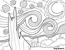 starry night coloring page enlarge create squares do as