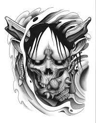 hannya mask tattoo black and grey hannya mask tattoo design black and grey tatoo pinterest