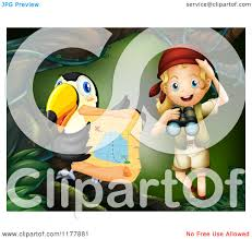 Treasure Map Clipart Cartoon Of A Toucan And Explorer With A Treasure Map