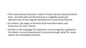 international harvester a tractor clutch service manual youtube