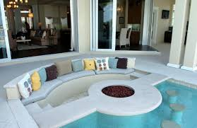 interior contemporary sunken living room conversation pit with