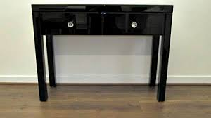 Black Console Table Black Glass Console Dressing Table Sophie Rose Range Amazon