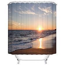 Kitchen And Bath Curtains by Amazon Com Goodbath Beach Shower Curtain Ocean Waves Sunset