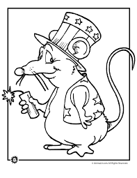 firecracker mouse 4th of july coloring page animal jr
