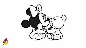 baby minnie mouse playing teddy draw minnie mouse