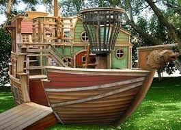 Backyard Playhouse Ideas Fun Rooms Big Pirate Ship Shaped Kids Playroom Wooden Playhouse