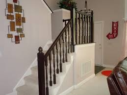 Stairway Banisters And Railings Remodelaholic Diy Stair Banister Makeover Using Gel Stain