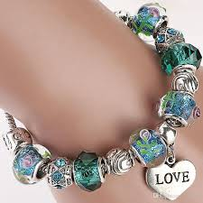 murano bracelet charms images European stylish 925 silver plated metal heart charm clasp pandora jpg