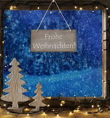 window winter forest frohe weihnachten means merry stock