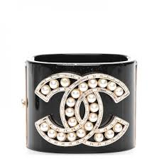 cuff bracelet black images Chanel resin pearl crystal cc cuff bracelet black 202892 jpg