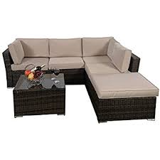 sofa set giantex 4pc patio sectional furniture pe wicker