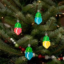 pixelated ornaments for your retro tree