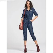denim jumpsuits drawstring patched pocket denim jumpsuit blue jumpsuits