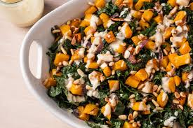 roasted butternut squash and kale salad with tahini dressing