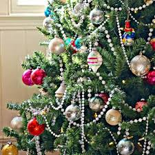 tree decorated with vintage glass ornaments