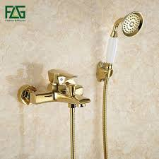 aliexpress com buy flg wall mounted antique brass brushed gold aliexpress com buy flg wall mounted antique brass brushed gold plated bathtub faucet with hand shower bathroom bath shower faucets torneiras hs038 from