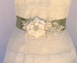 bridal sash wedding sash in moss green and ivory by agoddessdivine