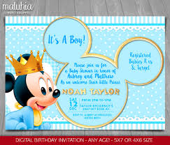Mickey Mouse Baby Shower Corsage Baby Mickey Mouse Baby Shower Invitation Baby Prince Mickey