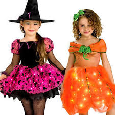 Kids Light Halloween Costume Light Halloween Girls Fancy Dress Spooky Scary Kids Childs
