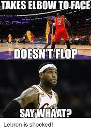 Shocked Meme Face - takes elbow to face doesn t flop saywhaat lebron is shocked meme