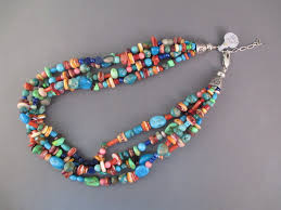 turquoise stone necklace 4 strand multi stone native american necklace