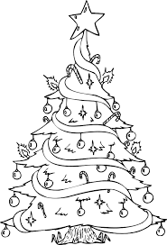christmas tree coloring fully decorated xmas tree