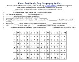 image of fast food worksheet best free science activities