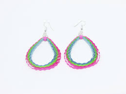 quiling earrings circular paper quilling earrings pink green and blue change creative