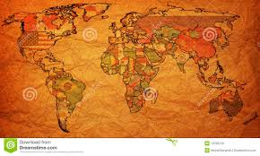 Old World Maps by Flags On Old Political Map Of World Royalty Free Stock Images