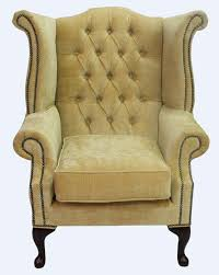 chesterfield armchair queen anne high back wing chair velluto gold