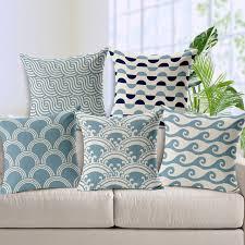 online shop free shipping light blue chevron linen cotton cushion
