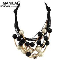 pearl necklace jewelry store images Manilai maxi jewelry imitation pearl necklace black rope bead jpg