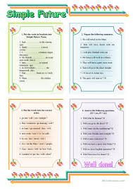 simple future tense with key worksheet free esl printable