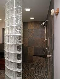 glass block bathroom ideas half wall corner tile shower thinner glass block shower