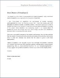 ms word employee recommendation letter template word document