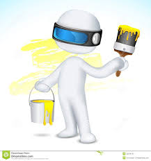 paint man 3d man with paint bucket and brush stock vector illustration of