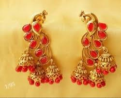 antique gold jhumka earrings peacock jhumka earrings jhumki antique tone gold
