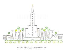 los angeles temple lds temple watercolor lds by alexazdesign