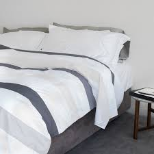 striped cotton duvet cover luxury percale contemporary bed