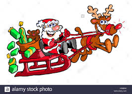 cartoon caricature santa clause riding sleigh pulled rudolph