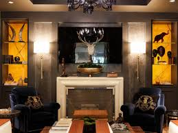 photo page hgtv art deco living room with smoking chairs and backlit shelving