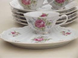 lefton china pattern lefton china snack sets painted pink roses tea cups trays
